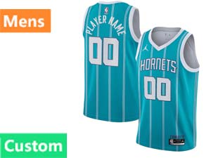 Mens Nba Charlotte Hornets Custom Made Jordan Brand 2020 Nba Draft First Round Pick Teal Icon Edition Swingman Jersey