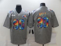 Mens Nfl Pittsburgh Steelers #90 T. J. Watt Gray Rainbow Vapor Untouchable Limited Nike Jersey