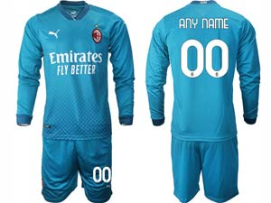 Mens 20-21 Soccer Ac Milan Club ( Custom Made ) Blue Second Away Long Sleeve Suit Jersey