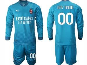 Mens 20-21 Soccer Ac Milan Club ( Custom Made ) Blue Second Away Long Sleeve Suit Jersey