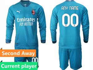 Mens 20-21 Soccer Ac Milan Club Current Player Blue Second Away Long Sleeve Suit Jersey
