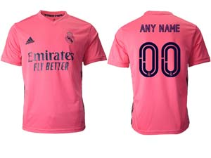 Mens Women 20-21 Soccer Real Madrid Club ( Custom Made ) Pink Away Thailand Short Sleeve Jersey