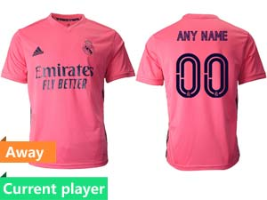 Mens Women 20-21 Soccer Real Madrid Club Current Player Pink Away Thailand Short Sleeve Jersey