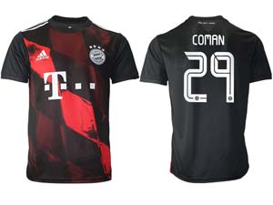 Mens 20-21 Soccer Bayern Munchen ( Custom Made ) Black Second Away Thailand Short Sleeve Jersey