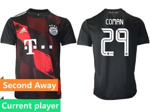 Mens 20-21 Soccer Bayern Munchen Current Player Black Second Away Thailand Short Sleeve Jersey