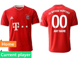 Mens 20-21 Soccer Bayern Munchen Current Player Red Home Thailand Short Sleeve Jersey