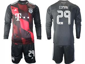Mens 20-21 Soccer Bayern Munchen ( Custom Made ) Black Second Away Long Sleeve Suit Jersey