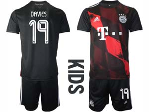 Kids 20-21 Soccer Bayern Munchen ( Custom Made ) Black Second Away Short Sleeve Suit Jersey