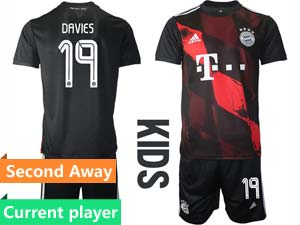 Kids 20-21 Soccer Bayern Munchen Current Player Black Second Away Short Sleeve Suit Jersey
