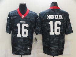Mens Nfl San Francisco 49ers #16 Joe Montana 2020 Camo Gray Number Vapor Untouchable Limited Nike Jersey