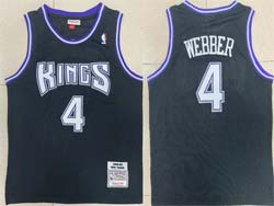 Mens Nba Sacramento Kings #4 Chris Webber Black 1998-99 Mitchell&ness Hardwood Classics Jersey