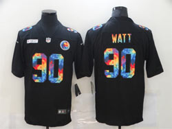 Mens Nfl Pittsburgh Steelers #90 T. J. Watt Black Rainbow Vapor Untouchable Limited Nike Jersey