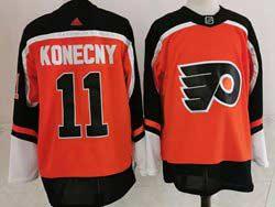 Mens Nhl Philadelphia Flyers #11 Travis Konecny Orange 2021 Reverse Retro Alternate Adidas Jersey