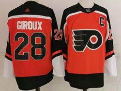 Mens Nhl Philadelphia Flyers #28 Claude Giroux Orange 2021 Reverse Retro Alternate Adidas Jersey