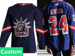 Mens Nhl New York Rangers Custom Made Blue Reverse Retro Alternate Adidas Jersey