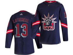 Mens Nhl New York Rangers #13 Alexis Lafrenière Blue Reverse Retro Alternate Adidas Jersey