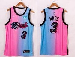 Mens 2020-21 Nba Miami Heat #3 Dwyane Wade Pink Blue Swingman Nike Jersey