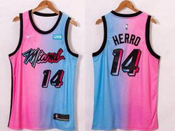 Mens 2020-21 Nba Miami Heat #14 Tyler Herro Pink Blue Swingman Nike Jersey