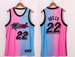 Mens 2020-21 Nba Miami Heat #22 Jimmy Butler Pink Blue Swingman Nike Jersey