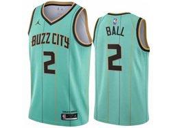 Mens 2020-21 Nba New Orleans Hornets #2 Lonzo Ball Green City Edition Swingman Jordan Jersey