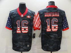 Mens Nfl San Francisco 49ers #16 Joe Montana 2020 Camo Usa Flag Salute To Service Limited Nike Jersey
