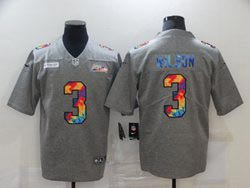Mens Nfl Seattle Seahawks #3 Russell Wilson Gray Rainbow Vapor Untouchable Limited Nike Jersey