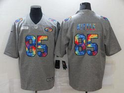 Mens Nfl San Francisco 49ers #85 George Kittle Gray Rainbow Vapor Untouchable Limited Nike Jersey