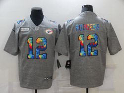 Mens Nfl Green Bay Packers #12 Aaron Rodgers Gray Rainbow Vapor Untouchable Limited Nike Jersey