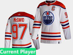 Mens Nhl Edmonton Oilers Current Player White 2021 Reverse Retro Alternate Adidas Jersey