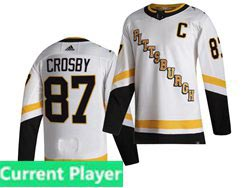 Mens Nhl Pittsburgh Penguins Current Player White 2021 Reverse Retro Alternate Adidas Jersey