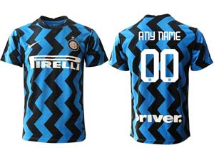 Mens 20-21 Soccer Inter Milan Club ( Custom Made ) Blue Home Thailand Short Sleeve Jersey