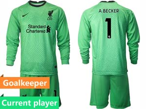 Mens Kids 20-21 Soccer Liverpool Club Current Player 4 Colour Goalkeeper Long Sleeve Suit Jersey