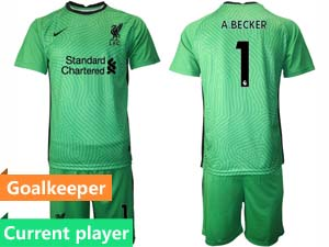Mens Kids 20-21 Soccer Liverpool Club Current Player 4 Colour Goalkeeper Short Sleeve Suit Jersey