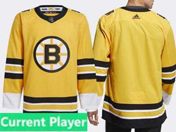Mens Nhl Boston Bruins Current Player Yellow 2021 Reverse Retro Alternate Adidas Jersey