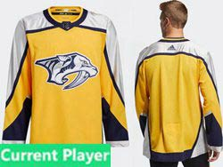 Mens Nhl Nashville Predators Current Player Yellow 2021 Reverse Retro Alternate Adidas Jersey