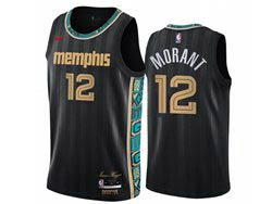 Mens Nba Memphis Grizzlies #12 Ja Morant Black 2020-21 City Edition Nike Swingman Jersey