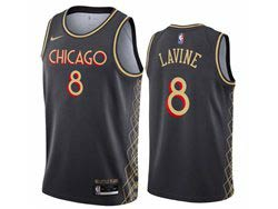 Mens Nba Chicago Bulls #8 Zach Lavine Bulls Black 2020-21 City Edition Nike Swingman Jersey