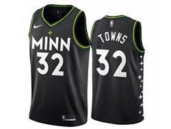 Mens Nba Minnesota Timberwolves #32 Karl-anthony Towns Black 2020-21 City Edition Nike Swingman Jersey