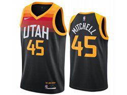 Mens Nba Utah Jazz #45 Donovan Mitchell Black 2020-21 City Edition Nike Swingman Jersey