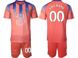 Mens 20-21 Soccer Chelsea Club ( Custom Made ) Red Second Away Short Sleeve Jersey