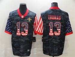 Mens Nfl New Orleans Saints #13 Michael Thomas 2020 Camo Usa Flag Salute To Service Limited Nike Jersey