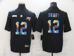Mens Nfl Tampa Bay Buccaneers #12 Tom Brady Black Rainbow Vapor Untouchable Limited Nike Jersey