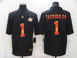 Mens Miami Dolphins #1 Tua Tagovailoa Black Colorful Vapor Untouchable Limited Nike Jersey