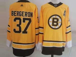 Mens Nhl Boston Bruins #37 Patrice Bergeron Yellow 2021 Reverse Retro Alternate Adidas Jersey