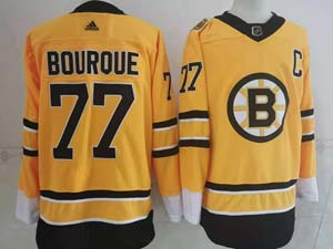 Mens Nhl Boston Bruins #77 Ray Bourque Yellow 2021 Reverse Retro Alternate Adidas Jersey