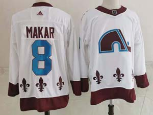 Mens Nhl Colorado Avalanche #8 Cale Makar White 2021 Reverse Retro Alternate Adidas Jersey