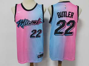 Mens 2020-21 Nba Miami Heat #22 Jimmy Butler Pink Blue Swingman Nike Jersey