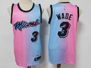 Mens 2020-21 Nba Miami Heat #3 Dwyane Wade Pink Blue Swingman Nike Jersey
