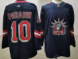 Mens Nhl New York Rangers #10 Artemi Panarin Blue 2021 Reverse Retro Alternate Adidas Jersey