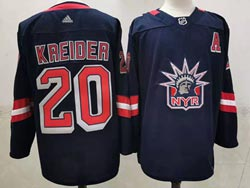 Mens Nhl New York Rangers #20 Chris Kreider Blue 2021 Reverse Retro Alternate Adidas Jersey